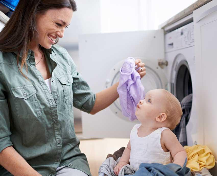 mother, baby, happy family, laundry room